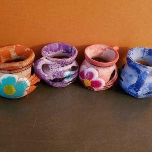 Set of 4 Authentic mini clay jarritos 💙💚🧡💜❤